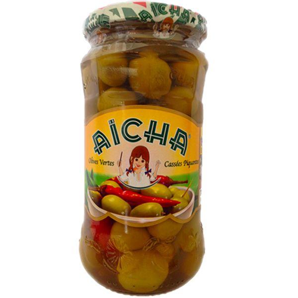 AICHA Olives Vertes Cassées Piquantes, bocal 37cl - Vente en gros