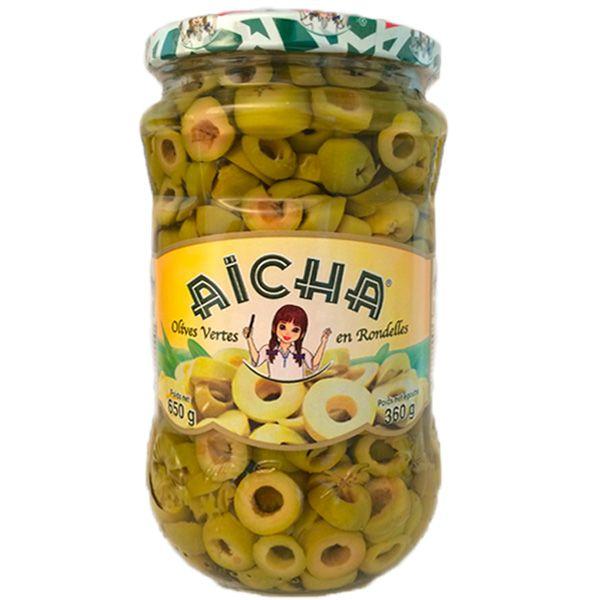 AICHA, Olives Vertes Rondelles, 72cl - Grossiste produits du Maroc, vente en gros