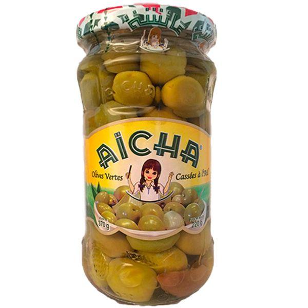 Olives Vertes Cassées à l'Ail, 37cl - Grossiste olives du Maroc AICHA