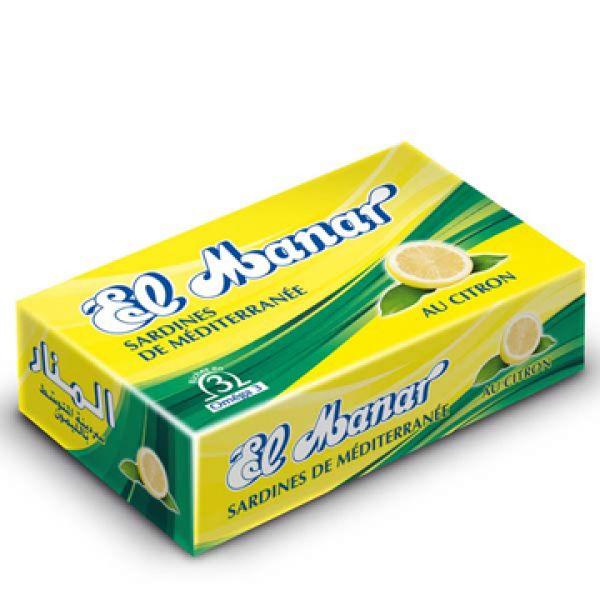 Sardines en boîte au Citron, EL MANAR. Boîte 125g