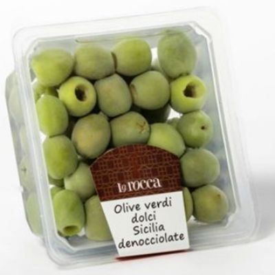Olives Vertes Douces de Sicile dénoyautées, LA ROCCA. Barquette 150g